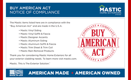 buy american act notice of compliance from mastic