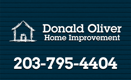don oliver home improvement logo and phone number on vinyl siding background